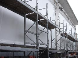 7m high weatherproof sheeting to meet stringent fire requirements. Product tailored for each site